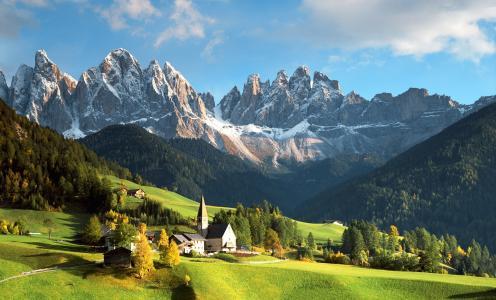 山,阿尔卑斯山,景观,房屋,镇,意大利