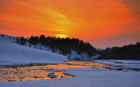 河,日落,雪,丘陵,树,冬天