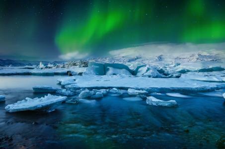 冰岛,极光,北极光,冻结,冰川,冰,湖,北部,灯,雪,星星,冬天