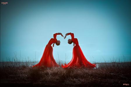 晚上,大自然,女孩,双胞胎,红色,跳舞