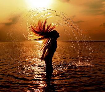 日落,海,太阳,女孩,头发,沙子