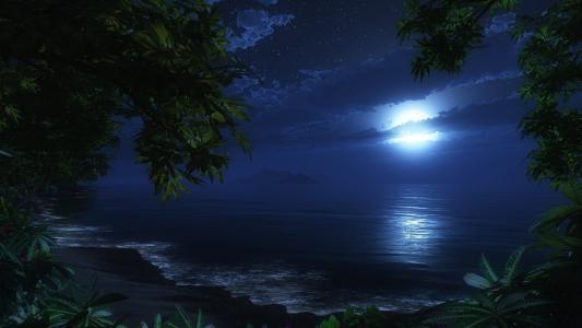 夜晚,月亮,沙滩,大海,浪漫