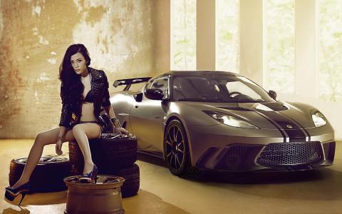 女孩,亚洲人,轮胎