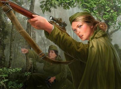 战争,狙击手,女孩,步枪,装备,森林