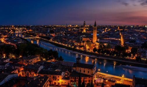 意大利,日落,维罗纳,灯光,暮光之城
