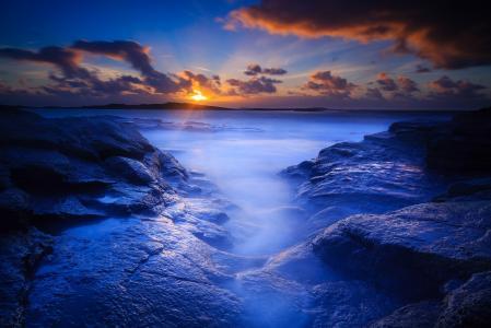 黎明,沙滩,岩石,早上