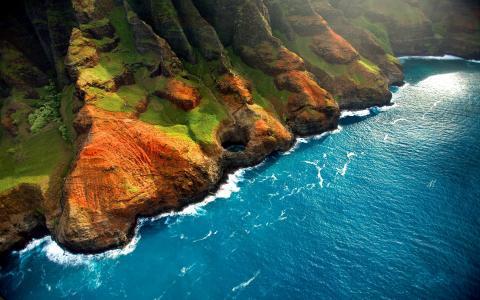 水,波浪,岩石,岸边,绿化,草地,光线