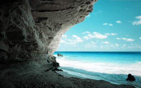 洞穴,主帆,水,海,天空