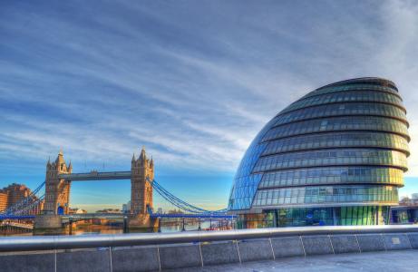 伦敦,英国,塔桥,塔桥,市政厅,伦敦,英国,桥梁,建筑,码头