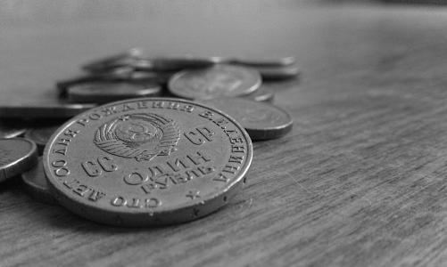 硬币,钱,苏联,列宁,表,镰刀,锤子,徽章,卢布,黑与白