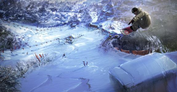 单板滑雪,滑雪板,赛道,血统,滑雪缆车,雪地,山脉