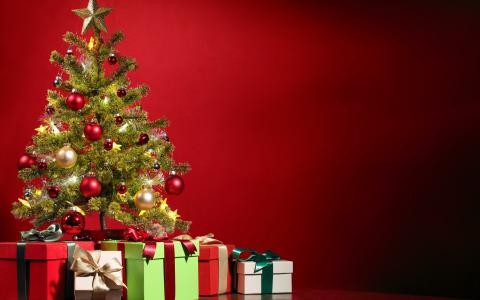 圣诞节,树,和,礼品,壁纸